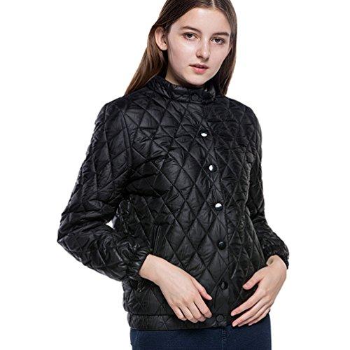 Lunga Nero Plaid Cappotti Dooxi Casual Donna Giacche Di Manica Inverno Caldo CBnXAwq1
