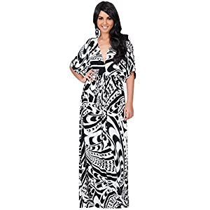 9265ff9ee3c75 KOH KOH Women Long Summer Formal Chevron V-Neck Sexy Graphic Printed Causal  Work Office Loose Evening Sun Flowy Gown Gowns Maxi Dress Dresses