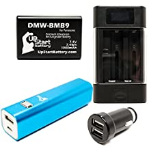 Panasonic Lumix DMC-FZ72 Battery with Universal Charger, 3000mAh Portable External Battery Charger and Dual USB Car Plug - Replacement Panasonic DMW-BMB9 Digital Camera Battery and Charger