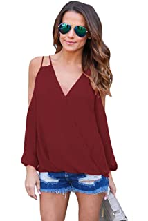 be8ba257d42 Dreamworld New Wine Cold Shoulder V Neck Wrap Front Long Sleeve Breezy Top  Blouse Party Casual Wear Clothes…
