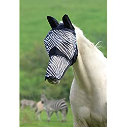 Shires Fine Mesh With Ears And Nose Fly Mask Extra Full Size Zebra