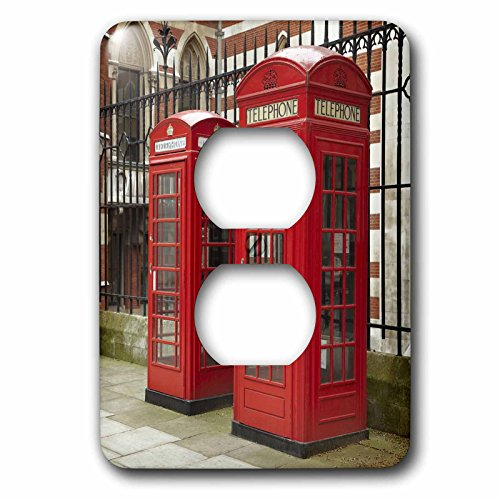 3dRose lsp_82770_6 Phone Boxes, Royal Courts Of Justice, London, England - Eu33 Dwa0003 - David Wall - 2 Plug Outlet Cover David Rose Lighting