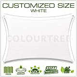 ColourTree Customized Size 16' x 17' White Sun Shade Sail Canopy UV BlockRectangle - Commercial Standard Heavy Duty - 190 GSM - 3 Years Warranty