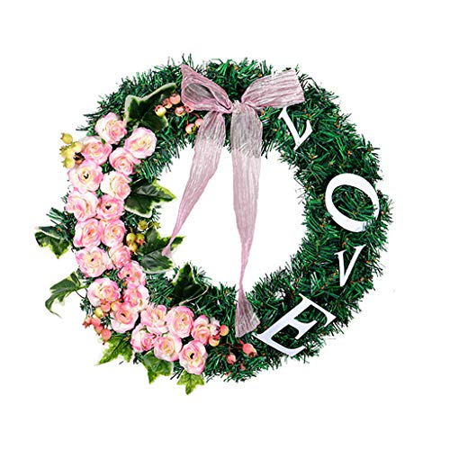 NszzJixo9 Pink Love Letter Garland Rose Wreath - Simulation Garland Home Office Decor Artificial Boxwood Wreath Leaf Wreath for Home Window Decoration Pendant,Indoor/Outdoor Use (A)