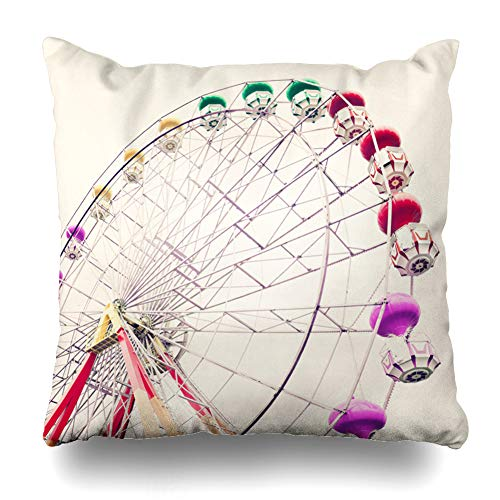 Ahawoso Throw Pillow Cover Holiday Yellow Ferris Vintage Carnival Wheel Purple Festival Amusement Carousel Hipster Horse Pastel Home Decor Pillow Case Square Size 18x18 Inches Zippered Pillowcase