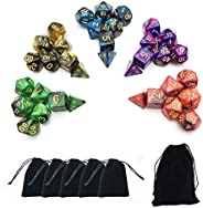 SmartDealsPro 5 x 7-Die Double-Colors Polyhedral Dice Sets with Pouches for D&D DND RPG MTG Dungeon and Dr