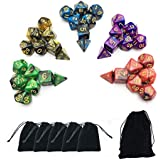 SmartDealsPro 5 x 7-Die Double-Colors Polyhedral Dice Sets with Pouches for D&D DND RPG MTG Dungeon and Dragons Table Board Roll Playing Games D4 D6 D8 D10 D% D12 D20