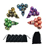 Product picture for SmartDealsPro 5 x 7-Die Series Two Colors Dice with Free Pouches for RPG MTG Table Games by Wizards RPG Team