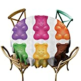 StarsART Table-Cloth Home Decoration Children,Colorful Jelly Gummy Bears Sweet Candy Food Blueberry Yummy Kids Nursery Design,Multicolor D36,for Wedding Reception Nave Blue