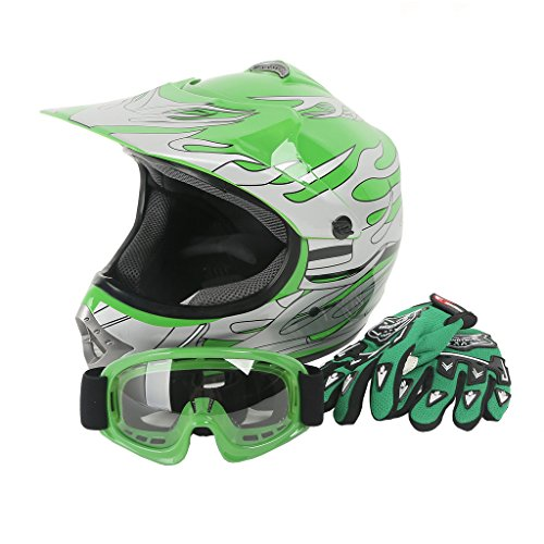(XFMT Youth Kids Motocross Offroad Street Dirt Bike Helmet Goggles Gloves Atv Mx Helmet Green Flame S)