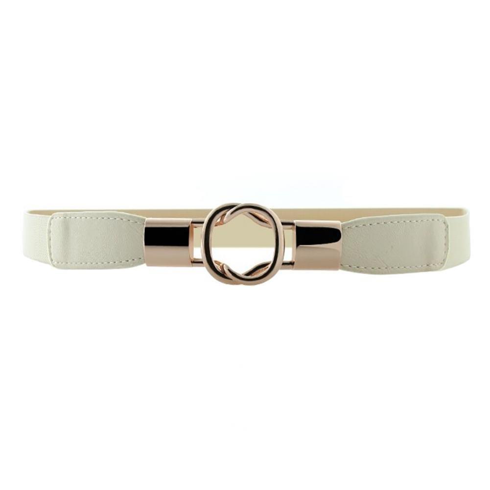 Women Fashion Elastic Skinny Leather Belt Gold Metal Buckle Dress Belt for Jeans Solid Color