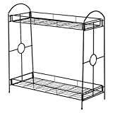 New Black 2 Tier Metal Shelves Indoor Plant Stand Display Flower Pots Rack Outdoor Garden