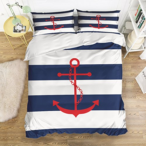 4 Pcs Bedding Set-Nautical Red Anchor Navy Blue and White Stripe Duvet Cover Set Ultra Soft and Easy Care Sheet Quilt Sets with Decorative Pillow Covers for Children Kids Adults-Twin (Striped White And Bedding Blue Red)