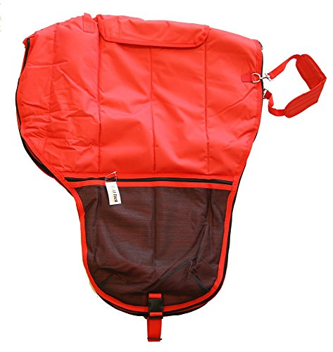 Deluxe Western Saddle Carrier 600D Canvas Nylon Bag Cover Mesh Pockets Red