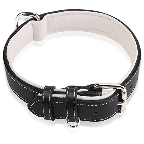 Part Genuine Dexter - Epic Rogue Heavy Duty Leather Dog Collars, Soft Padded Genuine Leather, Training Collar, Premier Pet Collar for Large Medium Female and Male Dogs(Neck 11.5''-15'', Black and White, Small/Medium)