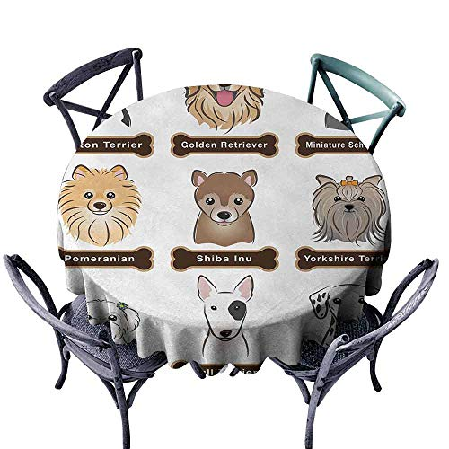 - duommhome Dog Stain-Resistant Tablecloth Various Type of Dogs Nameplate Boston Terrier Domestic Animal Faithful Loyal Great for Buffet Table D35 Grey Cream White