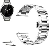 """18mm Stainless Steel Butterfly Buckle Watch Band For ASUS ZenWatch 2 (1.45"""" / 45mm) 2015 (YESOO Retail Packaging - 180 Days Warranty) (Link Silver)"""