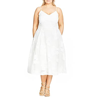 210639357e65 Mesh Floral Fit & Flare Dress in Ivory - Size 14 / XS at Amazon Women's  Clothing store: