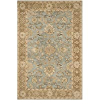 Safavieh Anatolia Collection AN585D Handmade Traditional Oriental Light Blue and Taupe Wool Area Rug (6 x 9)