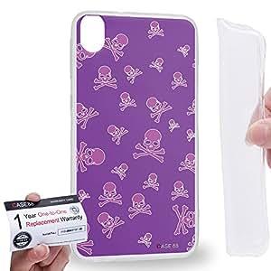 Case88 [HTC Desire 820] Gel TPU Carcasa/Funda & Tarjeta de garantía - Art Blooming Skulls Violet Art1915