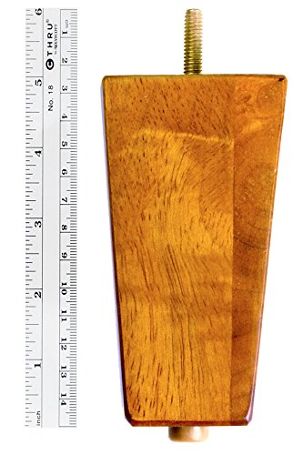 "MJL Furniture Designs Medium Wooden Square/Block Shaped Replacement Sofa or Ottoman Threaded Leg (Set of 4), Pecan, 5"" x 2-3/4"" x 1-3/4"""