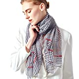 Silk Scarf Women Lightweight Houndstooth Print Shawl Wrap Scarf 74' x 55' Neck Large Scarves with Gift Box (05 White Black)