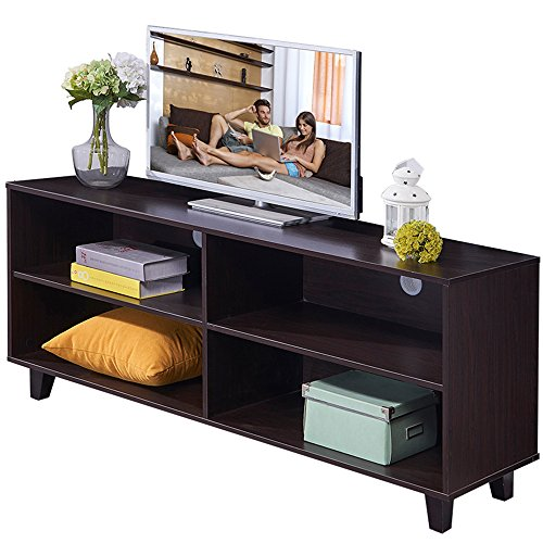 Dland TV Stand WF-TVG001BW, 4-Cube, 58'' Entertainment Center Console Storage Cabinet, Composite Wood Board, Black, 1 Pack by Dland