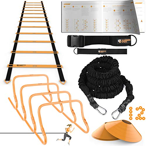 Ulimate Speed Training Set – Agility Ladder, Bungee Resistance Cord, 4 Adjustable Hurdles, 12 Sport Cones and Exercise…