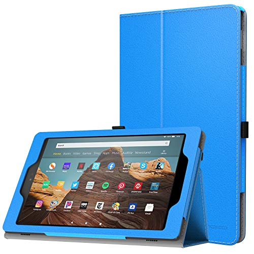 MoKo Case for All-New Amazon Fire HD 10 Tablet (7th Generation and 9th Generation, 2017 and 2019 Release) - Slim Folding Stand Cover with Auto Wake/Sleep for 10.1 Inch Tablet, Blue (Tablet Cases Protected)