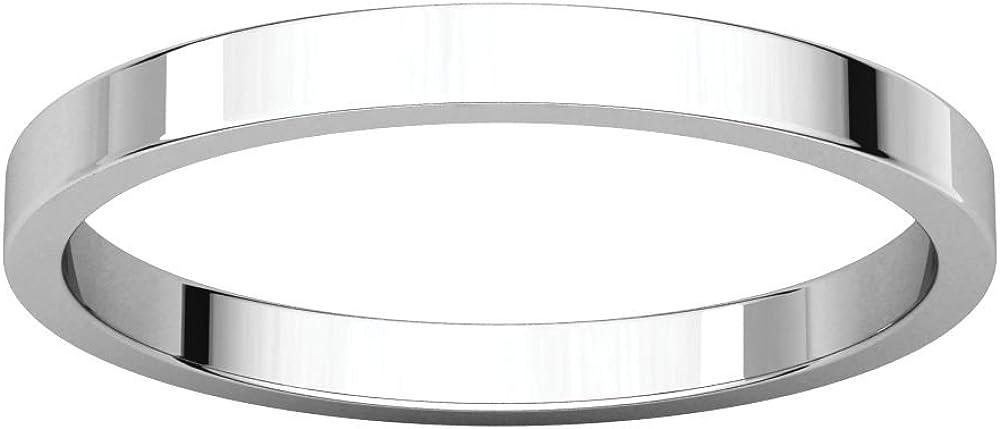 18K White Gold 2mm Flat Band