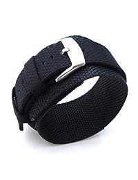 MiLTAT 22mm Nylon & Velcro Black Watch Strap, for Seiko SKX007, Brush