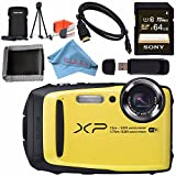 Fujifilm FinePix XP90 Digital Camera (Yellow) 16500466 + Sony 64GB SDXC Card + Fujifilm XP Series Digital Camera Standard Accessory Kit + Memory Card Wallet + Fibercloth + Micro HDMI Cable Bundle
