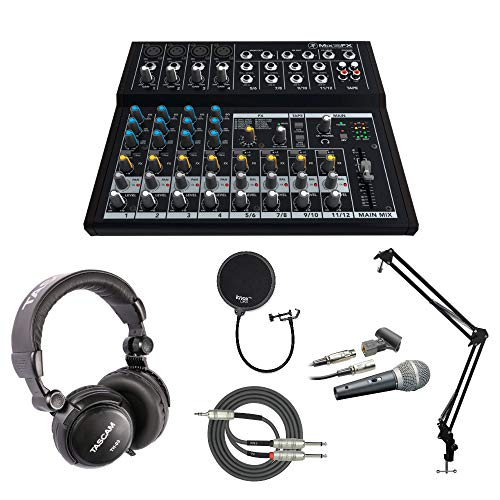 Mackie Mix12FX 12-channel Effects Mixer with Mic, Headphones, Knox Studio Stand, Pop Filter, XLR and Breakout Cable