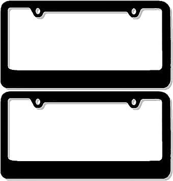 U.A.A Inc ® 1 Premium PLAIN Flat Black Metal License Plate Frame /& Screw Caps