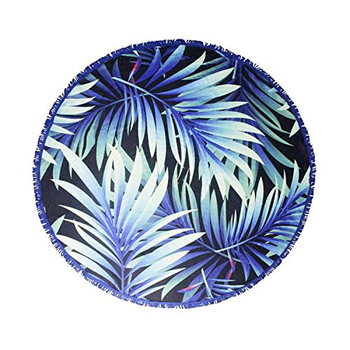 Palm Leaf Round Water Absorbent Beach Towel Pool Blanket- Microfiber Picnic Tapestry- Women's Circle Yoga Mat with Tassel Fringe (Tropical Palm Leaves: Purple, Blue, and Green) (Beach Indigo Palm)