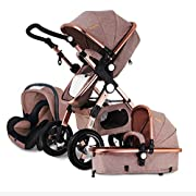 FYEO 3 in 1 Newborn Baby Stroller for Infant and Toddler Folding Convertible Baby Carriage Luxury High View Anti-shock Infant Pram Stroller Rubber Wheels (Khaki)