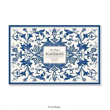 Faux Designs Paper Placemats Table Mats Table Decor Pk 25 Blue & White