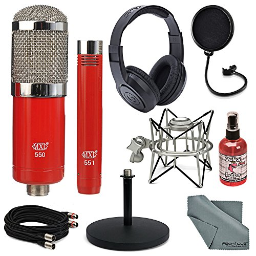 MXL 550/551 Microphone Ensemble Kit Deluxe Bundle with Samson Headphones, Stand, Shock Mount + Mic Sanitizer + Cable + FiberTique Cleaning Cloth ()