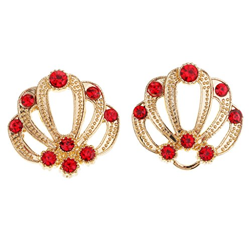 Homyl 1 Set Vintage Crystal Rhinestone Wedding Closure Hook Eye & Clasp Sew On Buttons - Gold+Red