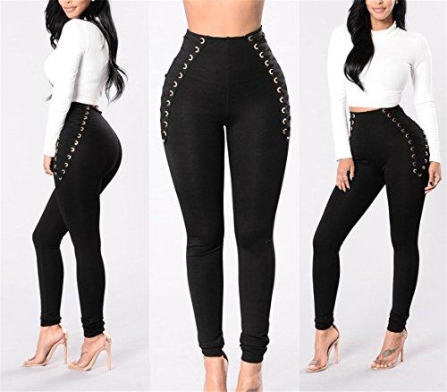 Pantaloni Vita Attillati Skinny Elasticizzati A Alta Aderenti Strappati Jeans Stretch Nero Tenxin qYXtx