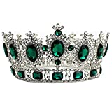 WIIPU Large Gemstone Crystal King Crown Wedding Prom Party Pageant,6.7'' Diameter(A1365) (Green)