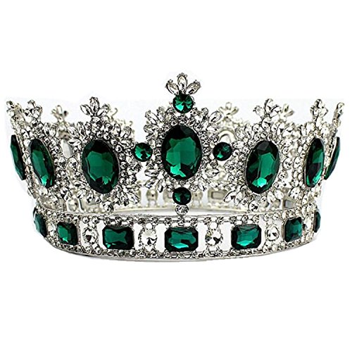 "WIIPU Large Gemstone Crystal King Crown Wedding Prom Party Pageant8.4"" DiameterA1365"