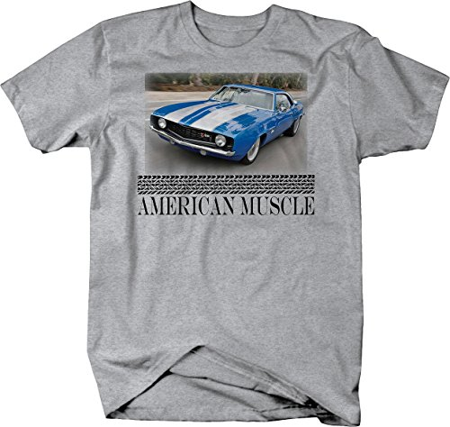American Muscle Chevy Camaro Z28 Classic Restoration Hotrod Tshirt - Large Heather Grey