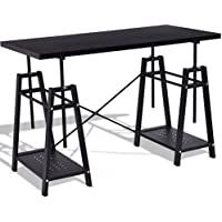 SKB Family Height Adjustable Study Writing Computer Desk adjustable height shelves rust-free anti-scratch 2 storage durable home or office