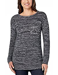 Ellen Tracy Women's Marled Pullover Sweater Black & Ivory X-large