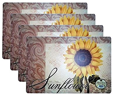 """Set of 4 Sun Flower Pattern Fashion Placemats Durable Foam Backing Ease Care Wipe Clean Table Place Mat Set 12"""" X 18"""""""