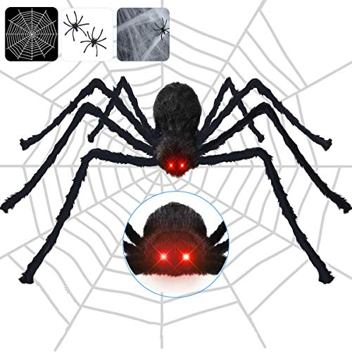 Halloween Spider Decorations Outdoor, 4.1 ft Giant Spider + 12ft Spider Web + Cobweb + 2 mini Spiders, large scary hairy Spider with red LED Eyes & Spooky Sound for Halloween Props Yard Creepy Decor