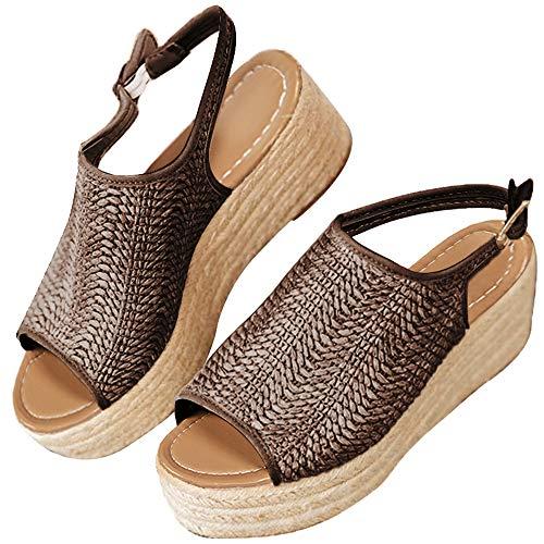 XMWEALTHY Women's Espadrilles Sandals Shoes Fashion Peep Toe Platform Wedge Ankle Strap Slingback Sandals Brown US 6