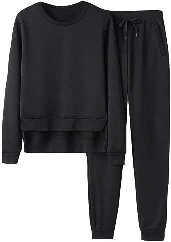 Corriee Womens Solid Color 2 Piece Tracksuit Crew Neck Long Sleeve Side Split Sweatshirt Pants Sportswear Sweatsuit Black