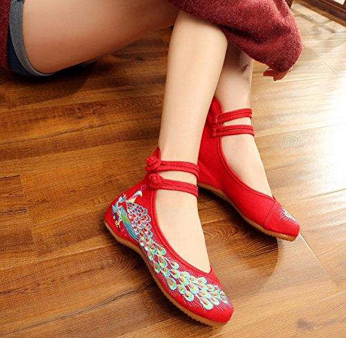 DESY Gestickte Schuhe, Sehnensohle, ethnischer Stil, weibliche Tuchschuhe, Mode, bequem, lässig innerhalb der Zunahme , red , 40